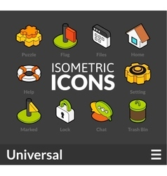 Isometric outline icons set 1 vector