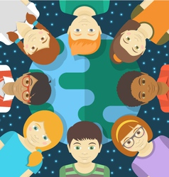 Kids of the World Square Concept vector