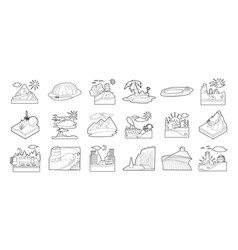 landscape icon set outline style vector image