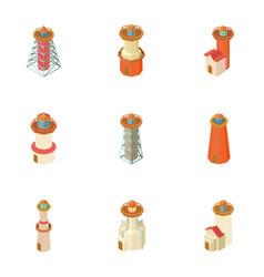 Lighthouse icons set cartoon style vector