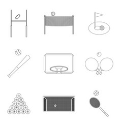 Linear sport icons set vector