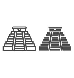 Mayan pyramid line and glyph icon ancient temple vector