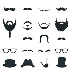 Mens beard and moustache styles props vector