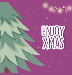 merry christmas celebration tree glowing lights vector image
