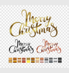 merry christmas metallic logo set isolated on vector image