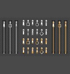Metal zip fasteners silver zippers puller set vector