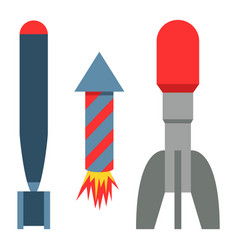 missile rocket set icon vector image
