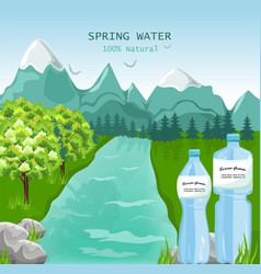 mountains water beauty nature spring green vector image