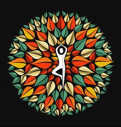 Nature mandala with person doing yoga pose vector