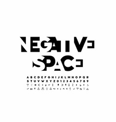 Negative space style font alphabet letters and vector