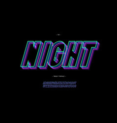 Night 3d line font neon style vector