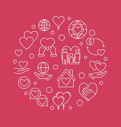 Nonprofit organization circular outline vector