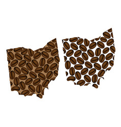 Ohio - map of coffee bean vector
