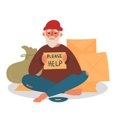 Old homeless beggar is asking for help in city vector