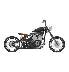 Old vintage black bobber bike cafe racer theme vector