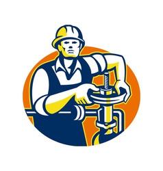 Pipefitter oil worker tighten pipe valve vector