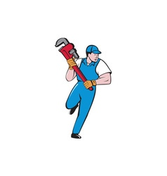 Plumber Running Pipe Wrench Cartoon vector image
