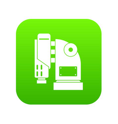 Pneumatic hammer machine icon digital green vector