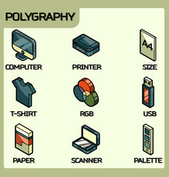 Polygraphy color outline isometric icons vector