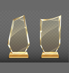 realistic glass trophy awards on gold base vector image
