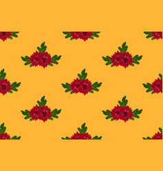 red chrysanthemum on orange yellow background vector image