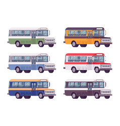 retro bus set in bright colors vector image