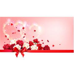 roses and ribbon vector image