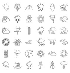season icons set outline style vector image