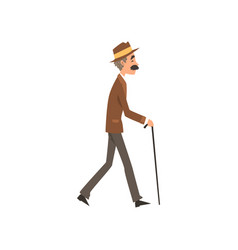 Senior man walking with cane active healthy vector
