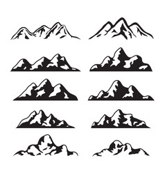 set black and white mountain silhouette vector image