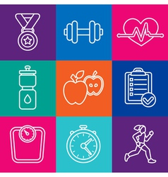 Set fitness icons and achievement badges vector