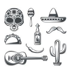 set mexican elements vector image