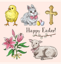 Set of hand drawn easter symbols vector
