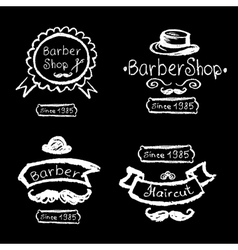 Set of vintage barber shop logo labels prints vector image