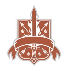 Shield sword and arrows vector