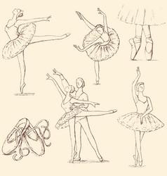 Sketches of ballet dancers vector
