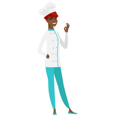 Smiling chef cook showing ok sign vector