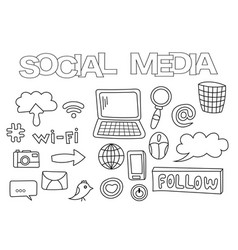social media elements hand drawn set vector image