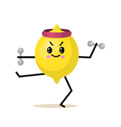 sports fruit lemon character with dumbbells cute vector image