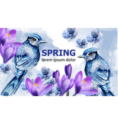 spring card watercolor with cute birds and vector image