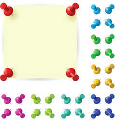 Sticky note with red pushpin vector