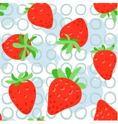 Strawberries seamless pattern red strawberry with vector