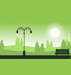 Street lamp on garden landscape silhouettes vector