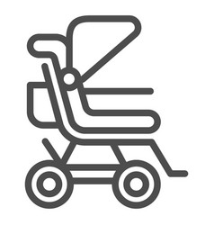 stroller line icon baby pushchair vector image