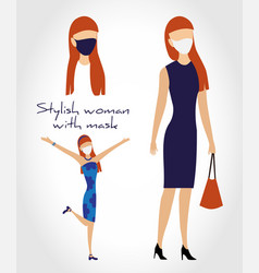 stylish woman in dress with bag and wearing face vector image