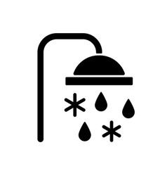 Taking cold bath or shower black glyph icon vector