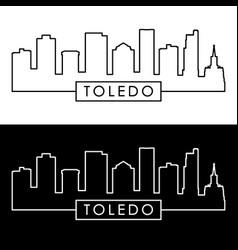 toledo skyline linear style editable file vector image