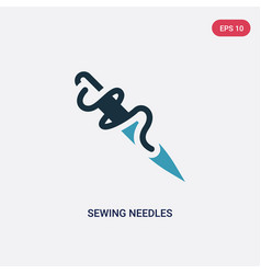 two color sewing needles icon from sew concept vector image