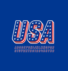 usa flag style font design alphabet letters and vector image