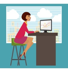 Workplace office desk Business woman working at vector image vector image